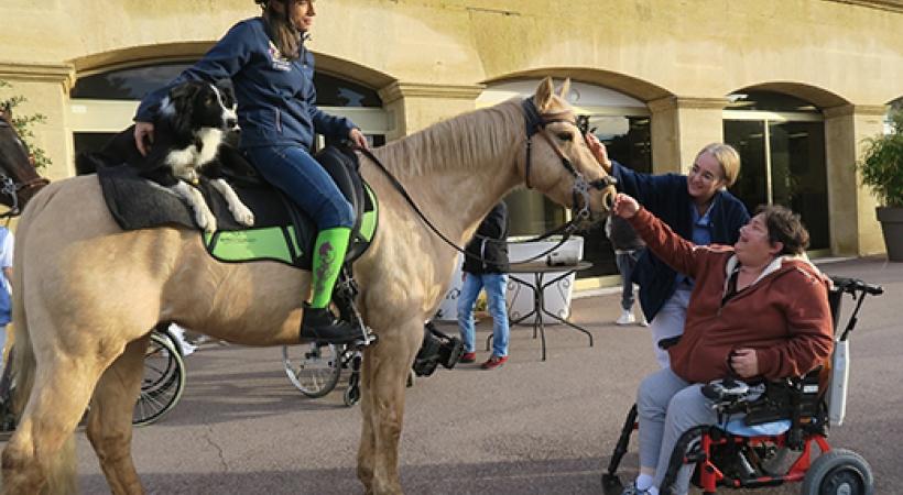 Aurélie à cheval face à une personne en fauteuil